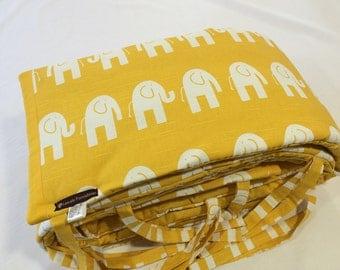 Custom Made Yellow Elephant Cot Bumper