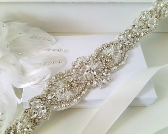 Beaded bridal sash crystal wedding belt sash, Style 181
