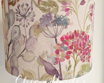 Country Flowers Hedgerow Linen Fabric Lampshade