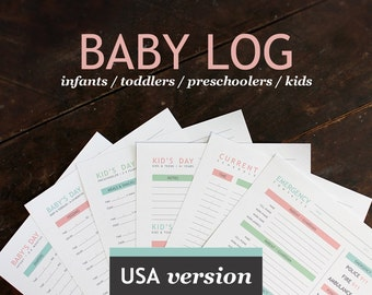 Baby & Nanny Log - Baby's Day - Printable daily log for childcare nannies and baby-sitters