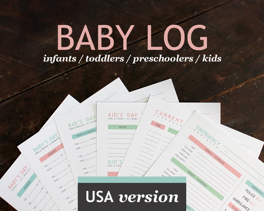 babysitter gift baby nanny log baby s day printable daily log for childcare nannies and baby sitters