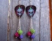 Sugar Skull with Candle Guitar Pick Earrings with Pave Rhinestone Dangles
