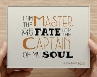 Notecard.  Master of my fate and captain of my soul.  Personalized notecard.  Package of 10, 20, 30, or 40