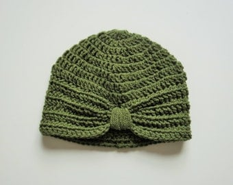 Handmade Crochet Baby Turban Style Hat in Khaki (Green) Made to order, Many Colours Available, great photo prop! Baby Gift, Baby Showers