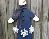 Primitive Snowman - Let It Snow -  Handmade - Solid Wood - FAAP, HAFAIR, OFG, TeamHaHa