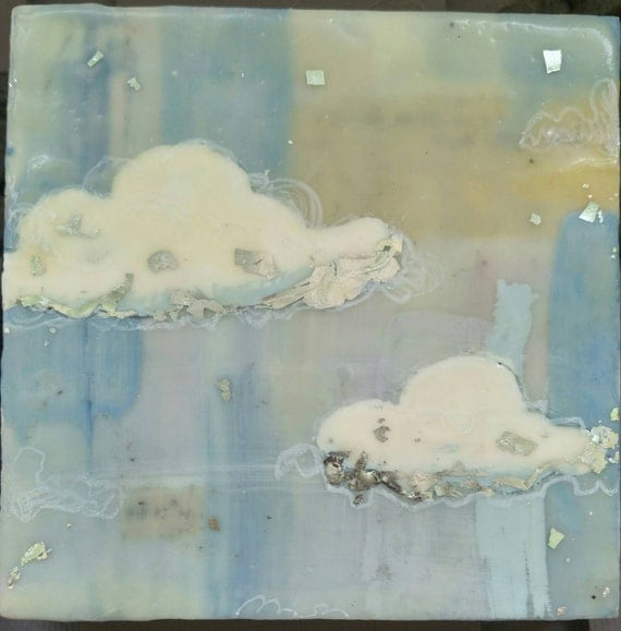 Silver linings I encaustic painting encaustic wax art cloud painting #makeforgood square painting on wood panel sky encaustic art