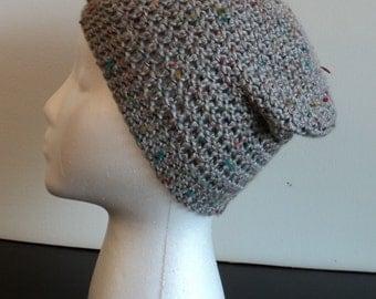 Crochet, gray tweed, slouch beanie