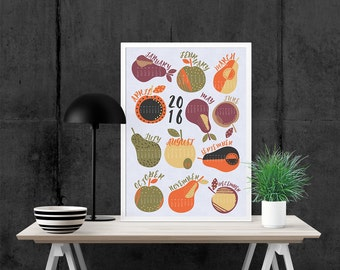 2016 Calendar Illustration art print, Giclee Art Print, archival art print, fruit, apples & pears