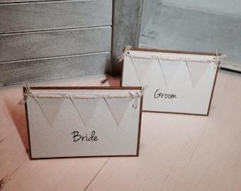 Vintage Bunting Wedding Placecard Namecard