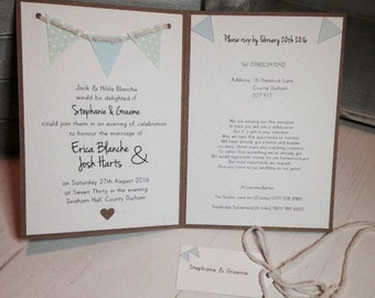 Handmade Bunting Wedding Invite Evening Shabby Chic