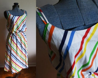 Medium -  1970-80's Colorful Striped Dress