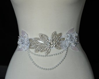 Crystal Rhinestones Applique with White Wedding Floral and Faux Pearls Bridal Sash or Maternity Sash