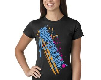Softball Paint Splash Juniors Longer Length T-Shirt Black, Grey, and White Sport Tee Shirt