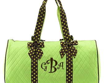 """Personalized Quilted Duffel with Detachable Bows - Large 21"""" Lime Green Duffle Bag with Brown Polka Dot Accents - QSD2701-LMBR"""