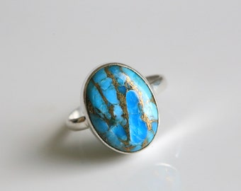 Copper Blue Turquoise Ring Oval, Blue Turquoise Silver ring, Turquoise Copper 925 Silver ring