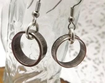 dime hoop coin dangle earrings handmade drop dime earrings, french hook or pierced ears, pierced earrings
