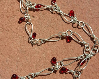 Sterling Silver loops with Red Glass dangles Necklace