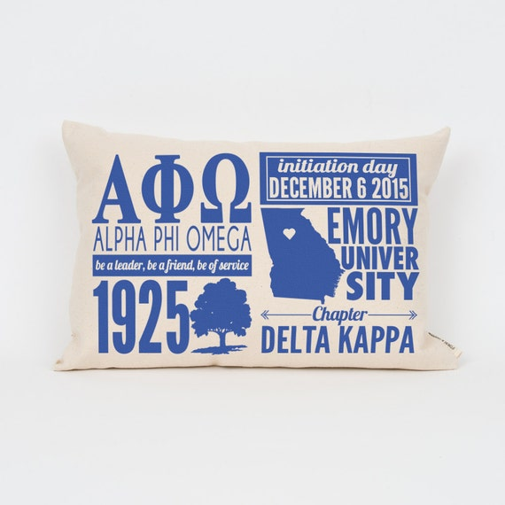 alpha phi omega custom sorority facts pillow greek letter pillow big little gift sorority letters sorority gift dorm decor