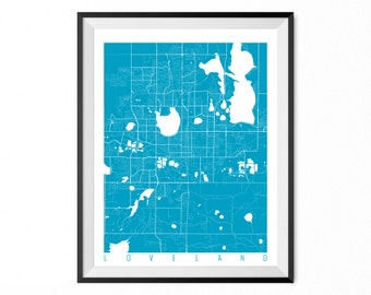 Loveland Map Art Print / Loveland City Poster / Loveland Wall Art / Colorado/ Gift / Colorado home decor
