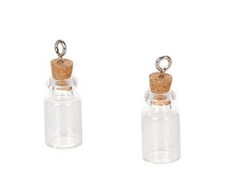 """Set of 4  Tiny 1"""" Glass Vial Pendants with Cork Stoppers and Silver Wire Loops"""