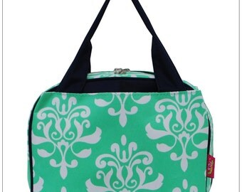 Mint Damask,  Lunch Box, Lunch Tote, Thermal Insulated, Monogramed