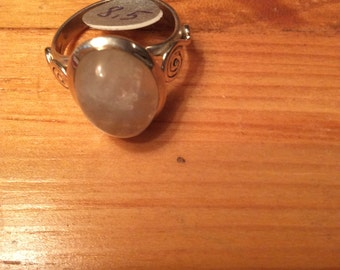 925 Sterling Silver Rainbow Moonstone Size 8.5