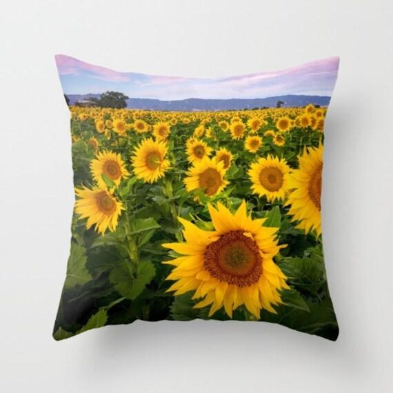 Throw Pillows With Sunflower Design : Sunflower Throw Pillow Vibrant Floral Home Decor Pillow