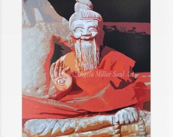 Buddhist monk - Cambodia Travel photography - Buddhist Decor - Cultural art - Cultural decor - Asian wall art - Feng shui - Zen wall art
