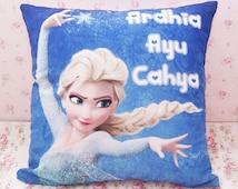 Cartoon Throw Pillow Case Cushion Cover - ELSA Frozen Nursery - Baby Kids Children Name