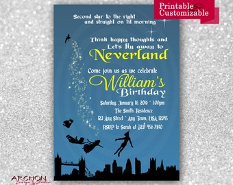 Peter Pan Birthday Party Invitation - Neverland, Fairy, Tinkerbell - Printable & Personalized - A-00009
