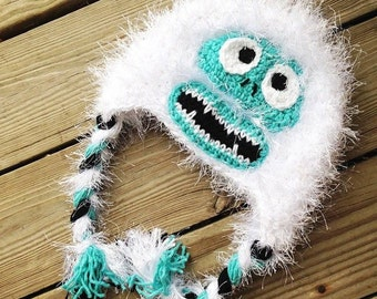 Bumble Crochet Hat - Yeti Hat - Abominable Snowman Hat - Furry Monster Hat - Bumble Hat - White Monster Hat