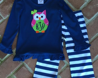 Adorable knit monogrammed owl set