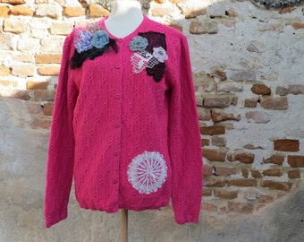 Bohemian cardigan,gypsy,mori girl,fairy,fae,crocheted ,knitted cardigan cotton lace APPLIQUED,, PINK TREASURE,,