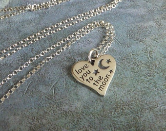 """Heart """"Love You To The Moon"""" Necklace ~ Sterling Silver"""