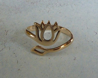 Adjustable Natural Bronze Lotus Ring