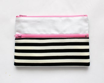Cute Striped Pencil Case/ Makeup Bag With Two Pink Zippers, Free Shipping