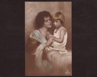Mother and child - Daughter, woman, praying girl, mother's day, hand tinted vintage German postcard, antique greeting card - 1922 (C1-20)