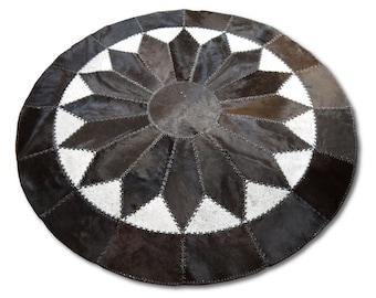 Round Rug Cowhide Patchwork