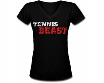 Tennis beast distressed print funny sport black slim fitted v neck women or junior t shirt