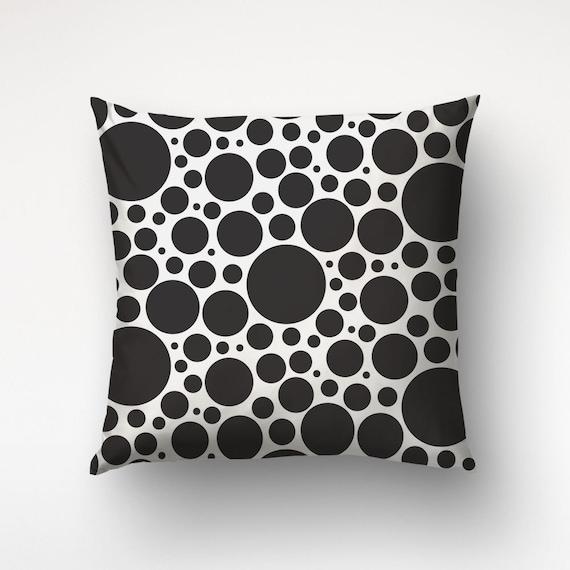 Bubble Pillows, Circle Pattern, Black White Decor, Decorative Pillow
