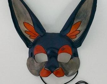 Black Rabbit Mask Ornate Bunny Mask Dark Hare Mask