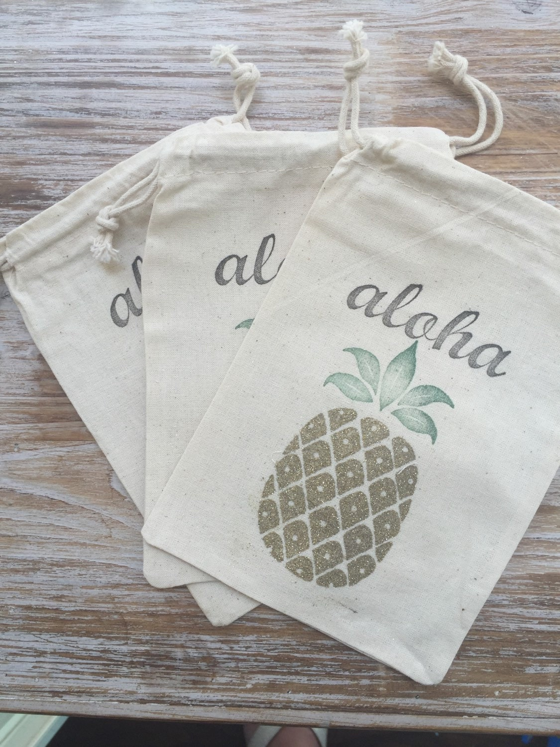 10 Pineapple Favor Bags Aloha Favor Bags Hawaii Favor Bags
