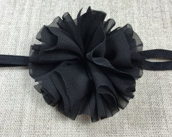 Newborn Headband - Toddler Headband - Girls Headband - Baby Headband - Girls Black Headband - Babies Headband - Black Flower Headband