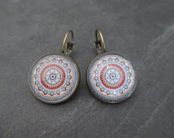 Stud Earrings 18 mm bronze plated metal and cabochon