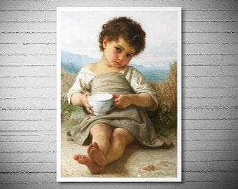 The Cup of Milk (La Tasse de Lait) 1879 by William Adolphe Bouguereau -  Poster Paper, Sticker or Canvas Print