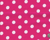 Pink Polka Dot Fabric, Pink Cotton Fabric, Fabric by the Yard, sewing fabric, craft fabric, pink dot fabric