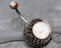 Vintage Boho Burnish Filigree Moon Opal Belly Button Ring