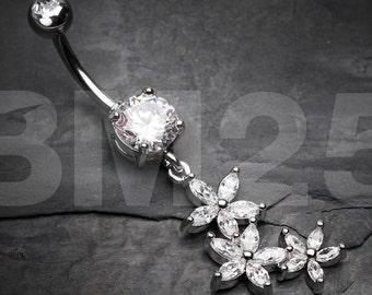 Sparkle Flower Garden Belly Button Ring