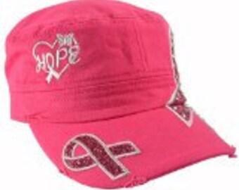 Breast Cancer Awareness Hat Hope Hot Pink Jewels  Hope hat