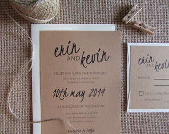 "Rustic Wedding Invitation Suite | Wedding Stationery | 5"" x 7"" Invitation + Reply Card + Envelopes 